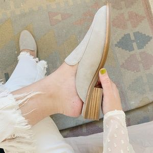 NWT! Neiman Marcus Grey Suede Mules
